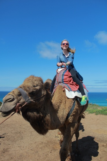 Roomie looking fly as ever on the camel she almost fell off of two minutes later